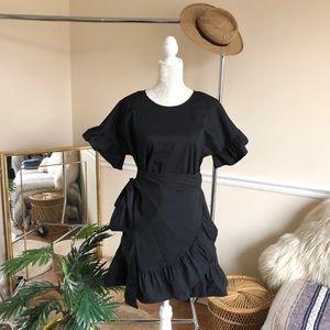 Tea & Cup Black Ruffle Wrap Dress L